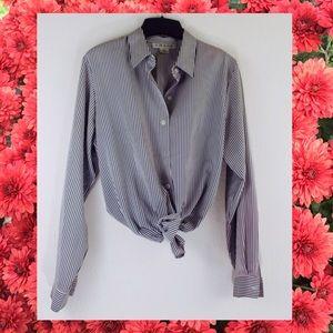 Vintage Chaus Button Up Shirt Black Cream Striped
